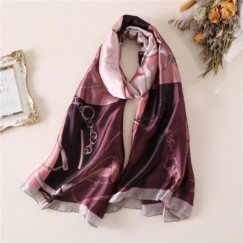 2019 New Brand Women's Scarf Fashion Soft Print Silk Scarves Large Size Lady Shawls and Wraps Female Beach Stole Pashmina Hijabs