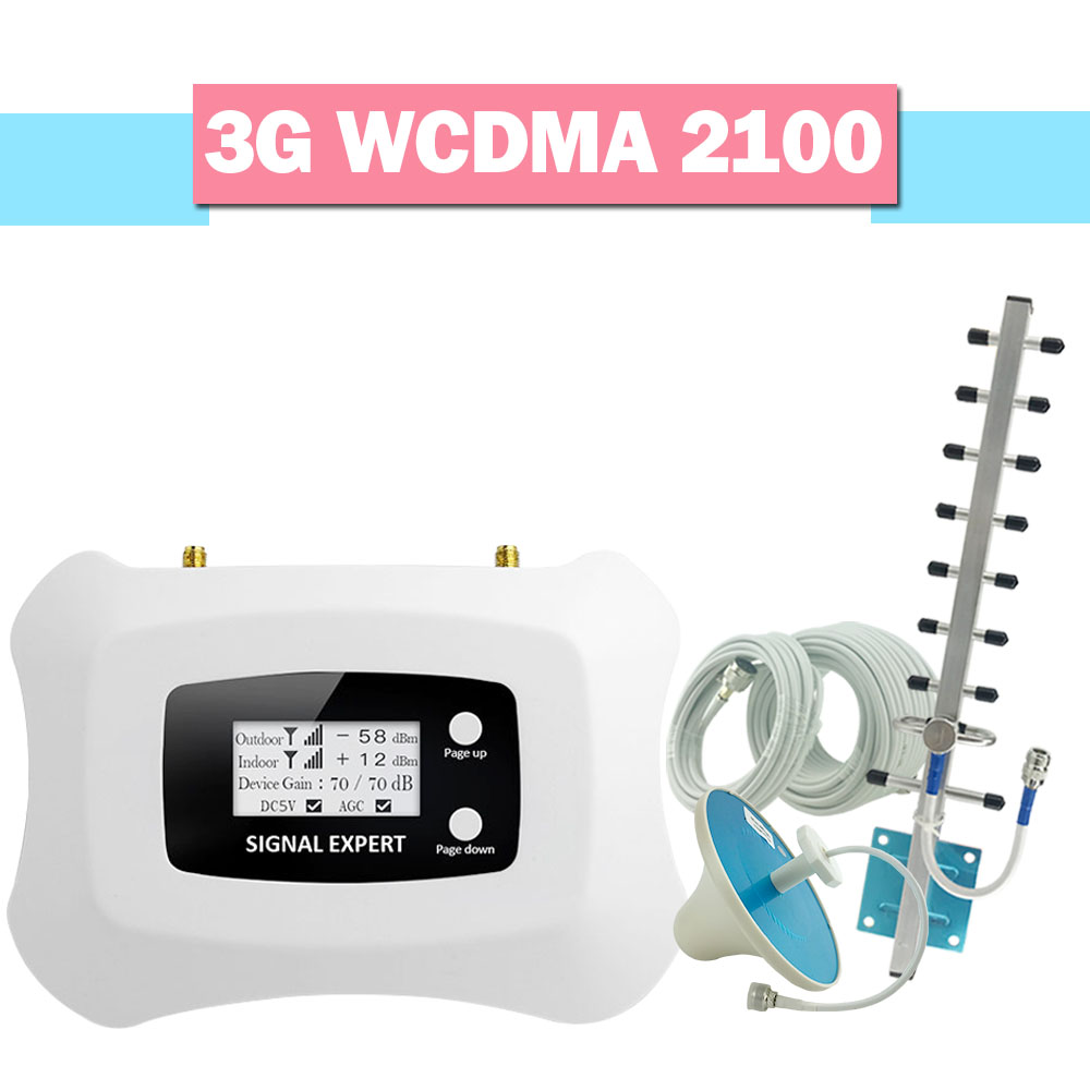 3G WCDMA 2100MHz Mobile Signal Booster 3G 2100 UMTS Internet Cell Phone Signal Repeater AGC LCD Display 70dB Gain Amplifier Set