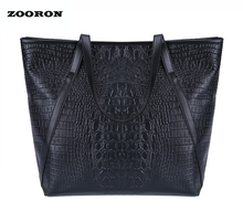 Female European and the United States Crocodile PU Leather Large Handbags Big Tote Bags for Ladies Women Single Shoulder Bags