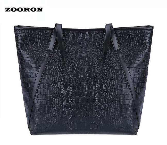 ZOORON Women Crocodile PU Leather Large Handbags Big Tote Bags for Ladies Women