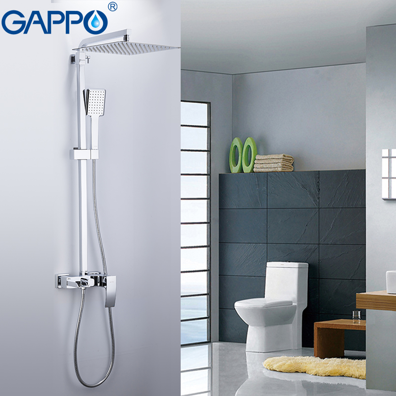 GAPPO sanitary ware suite bathroom massage showers waterfall rainfall bath mixer shower sets wall mounted shower heads