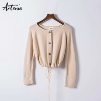 Artsnie Beige Casual Lace Up Knitted Short Cardigans Women Autumn 2018 Single Breasted Long Sleeve Sweaters O Neck Pull Femme