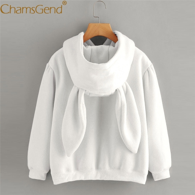 Chamsgend Hoodies Rabbit Ear sudadera kawaii Sweatshirt Women Winter Warm White Hoodies Sweatshirts With Front Pocket 71207