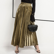 2019 New High Waisted Pleated Skirt Gradient Color Metallic Silver Maxi Long Skirt Woman Casual Party Clothing S-XXL stylish women s high waisted buttons embellished flare skirt