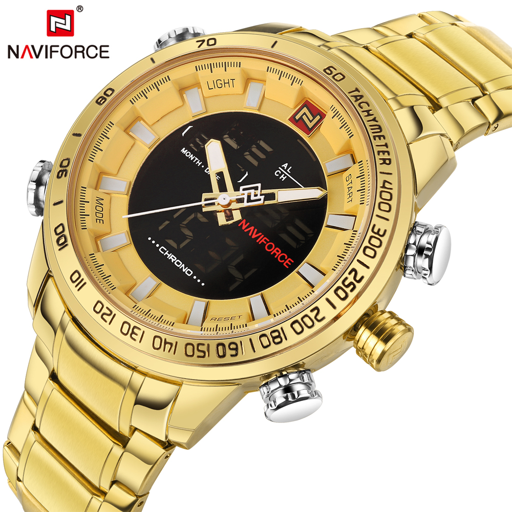 NAVIFORCE Top Brand Luxury Gold Steel Waterproof Watches Men Quartz Watch Mens Army Military Wristwatch Clock Relogio Masculino weide new men quartz casual watch army military sports watch waterproof back light men watches alarm clock multiple time zone
