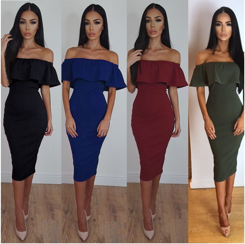 Ruffle Off The Shoulder dresses 2017 Sexy Slim Bodycon Dresses butterfly sleeve dresses korean oversize Club Wear Dresses