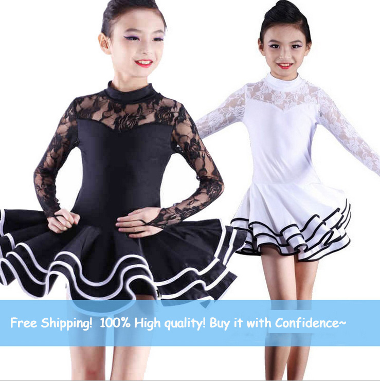 120-160cm Girls Salsa Dance Wear Clothes Latin Competition Standard Ballroom Dance Dress Salsa Rumba Costumes For Kids Age 4-16