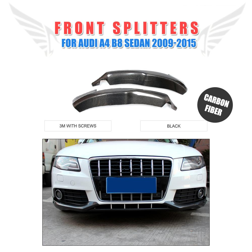 2PCS/Set Carbon Fiber Front Lip Splitters Flaps Aprons For Audi A4 B8 Standard Bumper Non-Sline Bumper 2009-2015