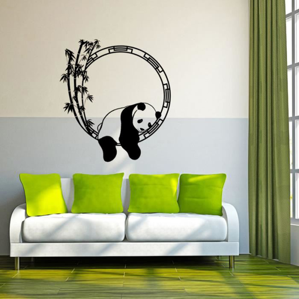 Chambre Panda Brand New Sleeping Panda Bamboo Wall Sticker Pvc Removable
