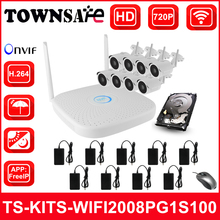 TOWNSAFE new 8CH WIFI NVR KIT HD 720P 1MP Waterproof Wireless Bullet IP Cameras ONVIF P2P Surveillance System