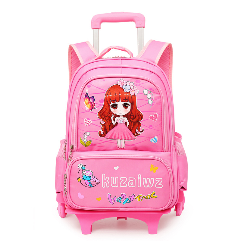 2019 Removable Children School Bags Girls large capacity princess Trolley Backpack 6 Wheels Climb Stair Kids Rolling Backpacks(China)
