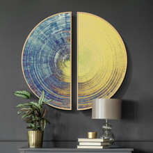 Modern minimalist abstract decorative painting Double semicircular Living room porch Aluminum alloy frame mural