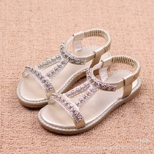 2017 New Summer Kids Sandals For Girls Fashion Princess Shoes New Style Cow Muscle Sole With Rhinestone Portable Girls Shoes