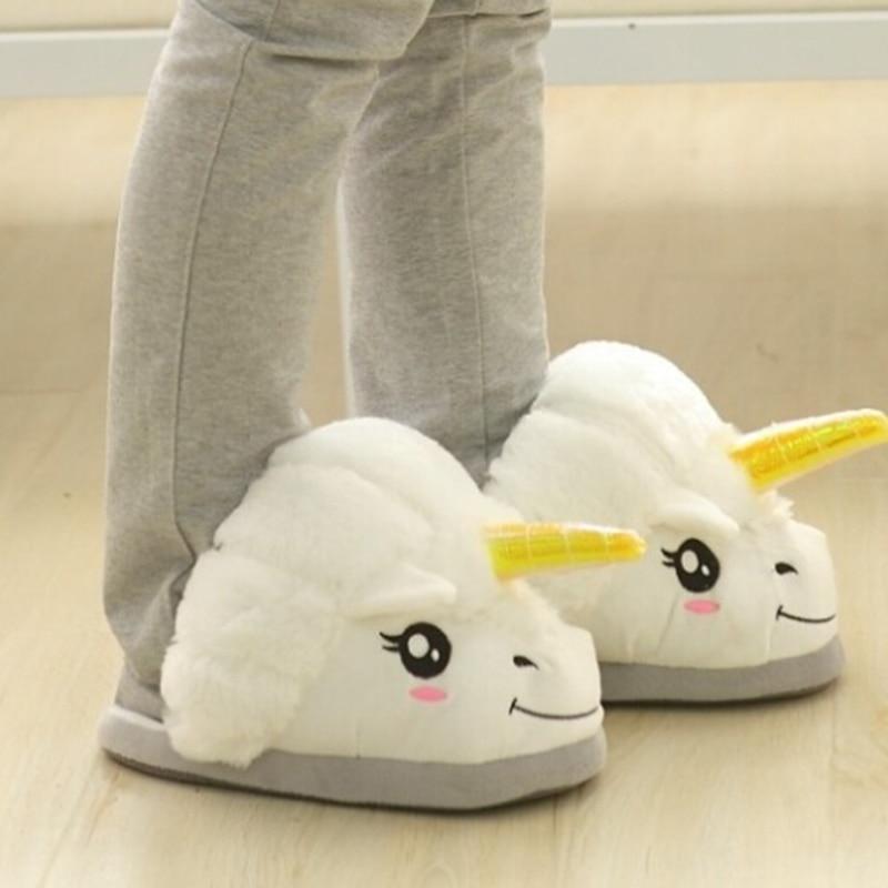 Plush Unicorn Slippers Men And Women Winter House Slippers