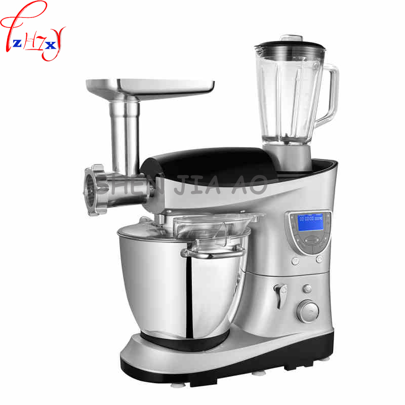 1pc 220V 1200W Multi-function chef machine LCD electric dough/ cake mixer 7L fight egg food mixer automatic heating belt timer