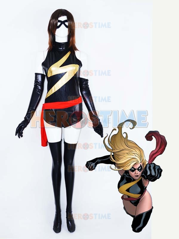 Ms. Marvel Shiny Metallic Superhero Costume black and gold Ms. Marvel Hreo Female/woman/girls Lady costume halloween costume