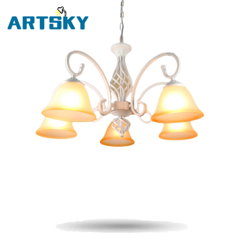 Europe White/ Black Chandeliers Lights for Restaurant Livingroom Bedroom Indoor Lamp Ceiling Chandelier Brown Shade