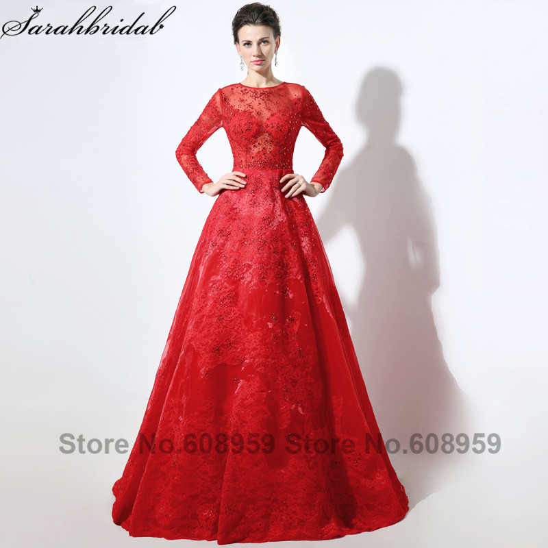 Red Long Sleeve Lace Muslim Arabic   Evening     Dresses   Sexy See Through Crystal Long Prom   Dress   Party Vestido De Festa Longo LSX046