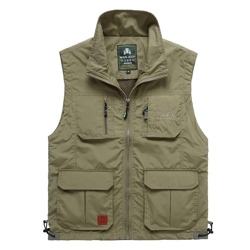 ФОТО Outdoor Men's Jacket Sleeveless Good Quality Travels Vest Men Waistcoat Male breathable Sport  Hiking JIANJEEP Brand Clothing