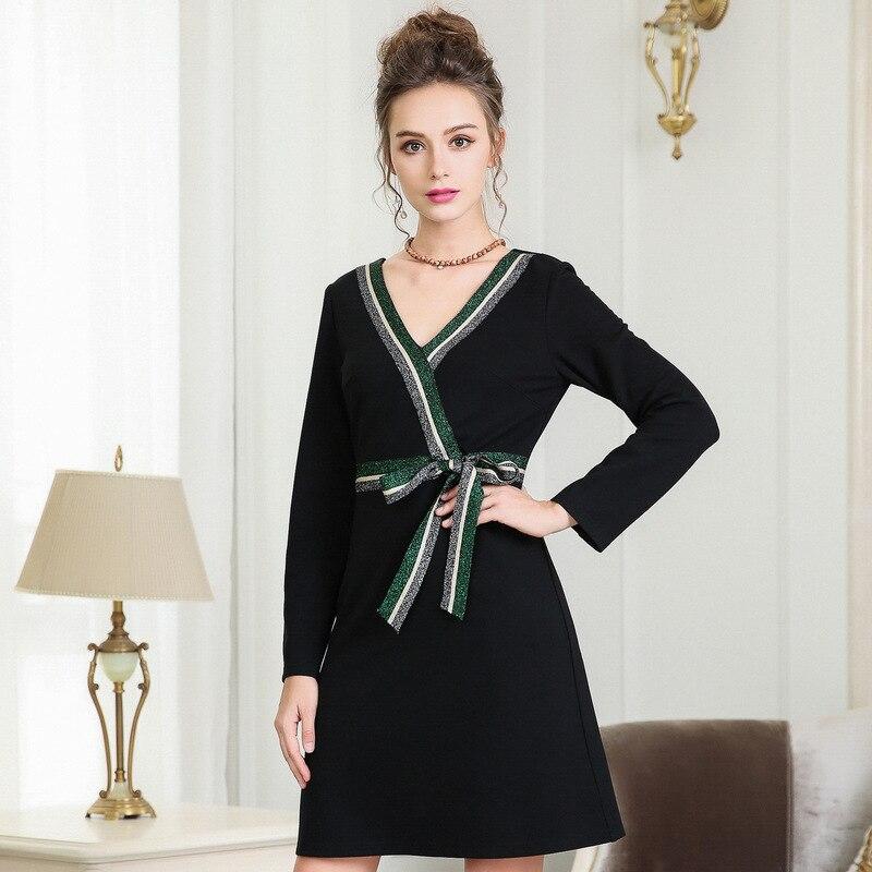 Femmes 2018 Noir Robe V Balck Occasionnel 5xl Taille cou longueur ceintures L À W Lady Plus Longues Automne Manches 4xl Ouyalin Genou La fSqYn