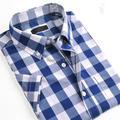 Синий Люди Вскользь Рубашки Мода Лето Мужские Случайные Рубашки Плед Шаблон С Коротким Рукавом Нагрудные Декольте Дизайн Горячей Продажи QR-0086