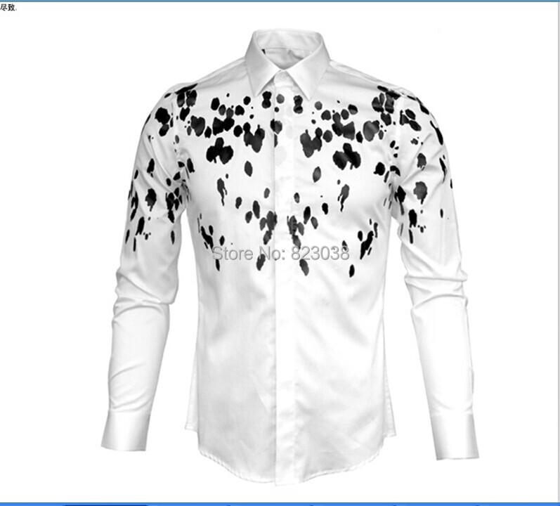 2014 good quality Mens Designer Brand black & white Print floral ...