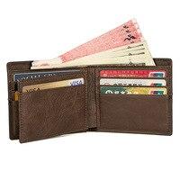 Genuine Leather Wallet Men Short Pocket Purse Wallet Card Holders
