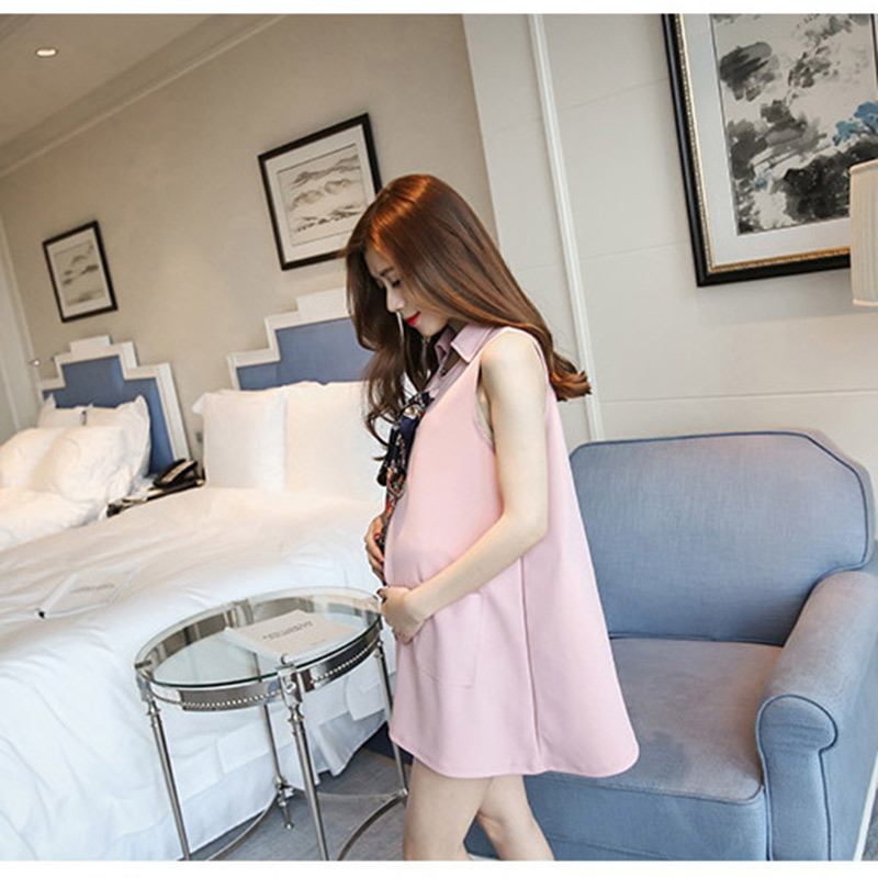 Pregnancy Dress Sleeveless Turn-down Collar Maternity Clothes Summer Scarf Clothes for Pregnant Women Cute Pregnancy Clothing
