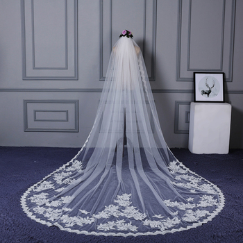2019 Real Photos Appliqued 4M Long Soft Tulle exquisite lace veil Cathedral Wedding Veil New Bridal Veil