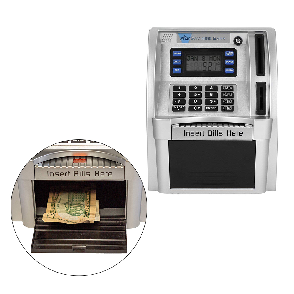 For Kids Gifts Cartoon ATM Savings Bank Personal ATM Cash Coin Piggy Bank Machine Features a