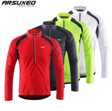 ARSUXEO Mens Long Sleeve Cycling Jerseys Bicycle Bike Shirt MTB Mountain Jersey Clothing Reflective Stripe Pockets