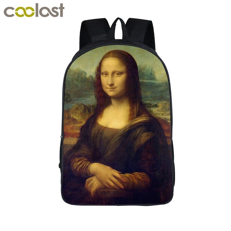 Mona Lisa/Pablo Picass/Van gogh Escola Mochila Para Meninos Adolescentes Meninas Sacos de Livro de História De Arte Mulheres Bolsa para laptop Bolsa mochila