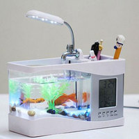 USB Desktop Mini Aquarium Black/ White Fish Tank with LCD Display Screen LED Lamp Light and Clock Fish Tank Aquarium