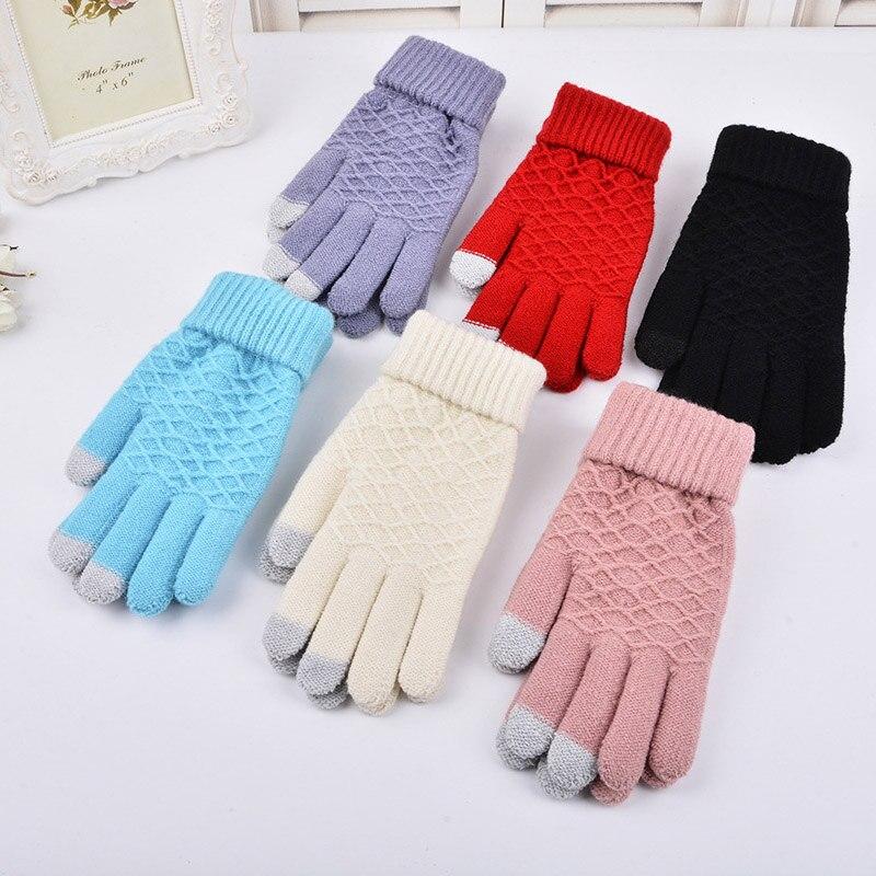 Fall Winter Men/Women Warm Jacquard Grid Pattern Female Stretch Knit Gloves Girl Solid Magic Accessories Wool Gloves Mittens A35