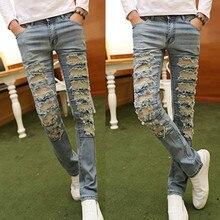 Представляем дизайнер одежды брюки slp синий/черный уничтожено мужские тонкий деним прямые байкер skinny jeans мужчины рваные джинсы 28-33