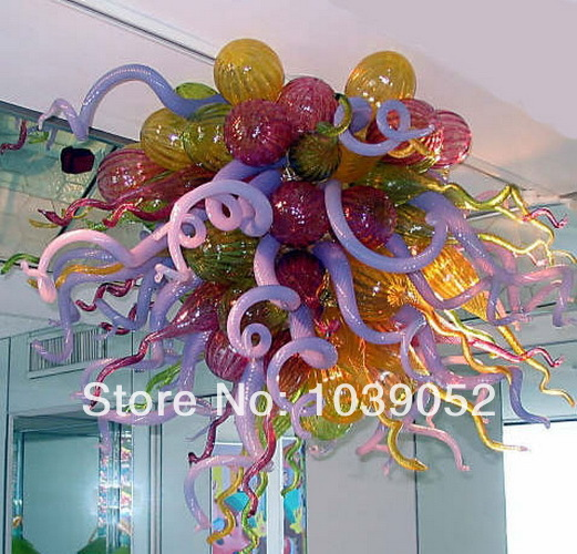 Free Shipping 100% Hand Made Amber Art Deco Blown Glass Chandelier For Sale