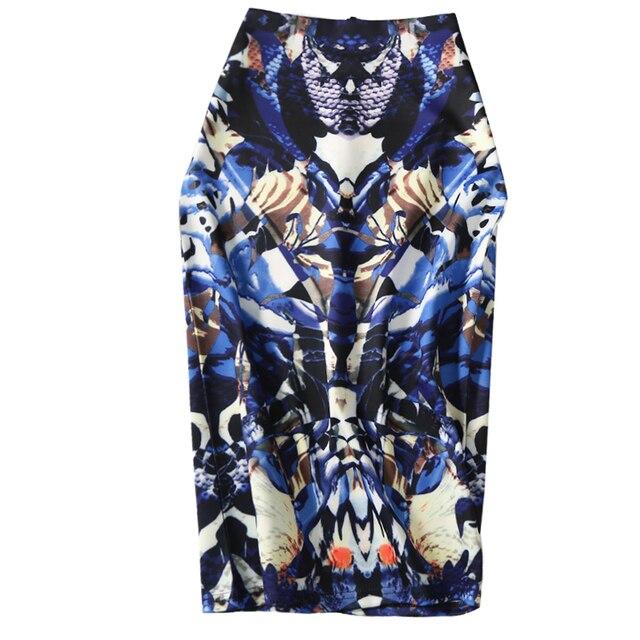 38d0373ac De las mujeres de la moda arte imprimir Primavera Verano falda lápiz XL XXL  Faldas Mujer cintura alta elegante Split Falda Midi señora Oficina ropa ...