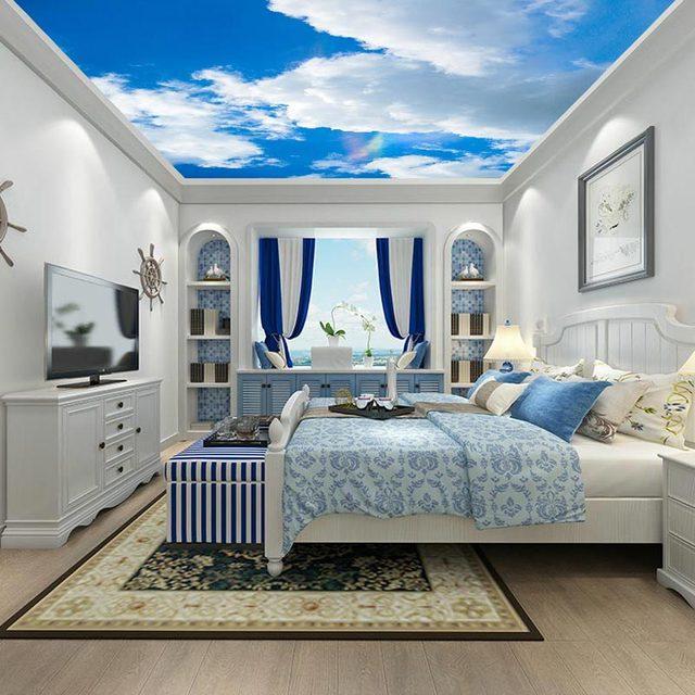 Decke Tapeten 3d Weiß Wolken Himmel Wand Papier wandbild ...