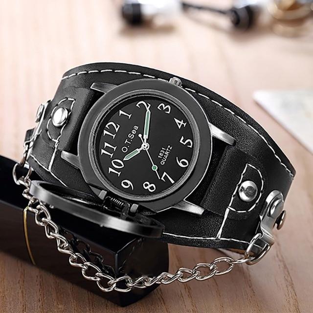 Montres pour hommes de moto Antique avec une rétro chaîne et bracelet en cuir 2