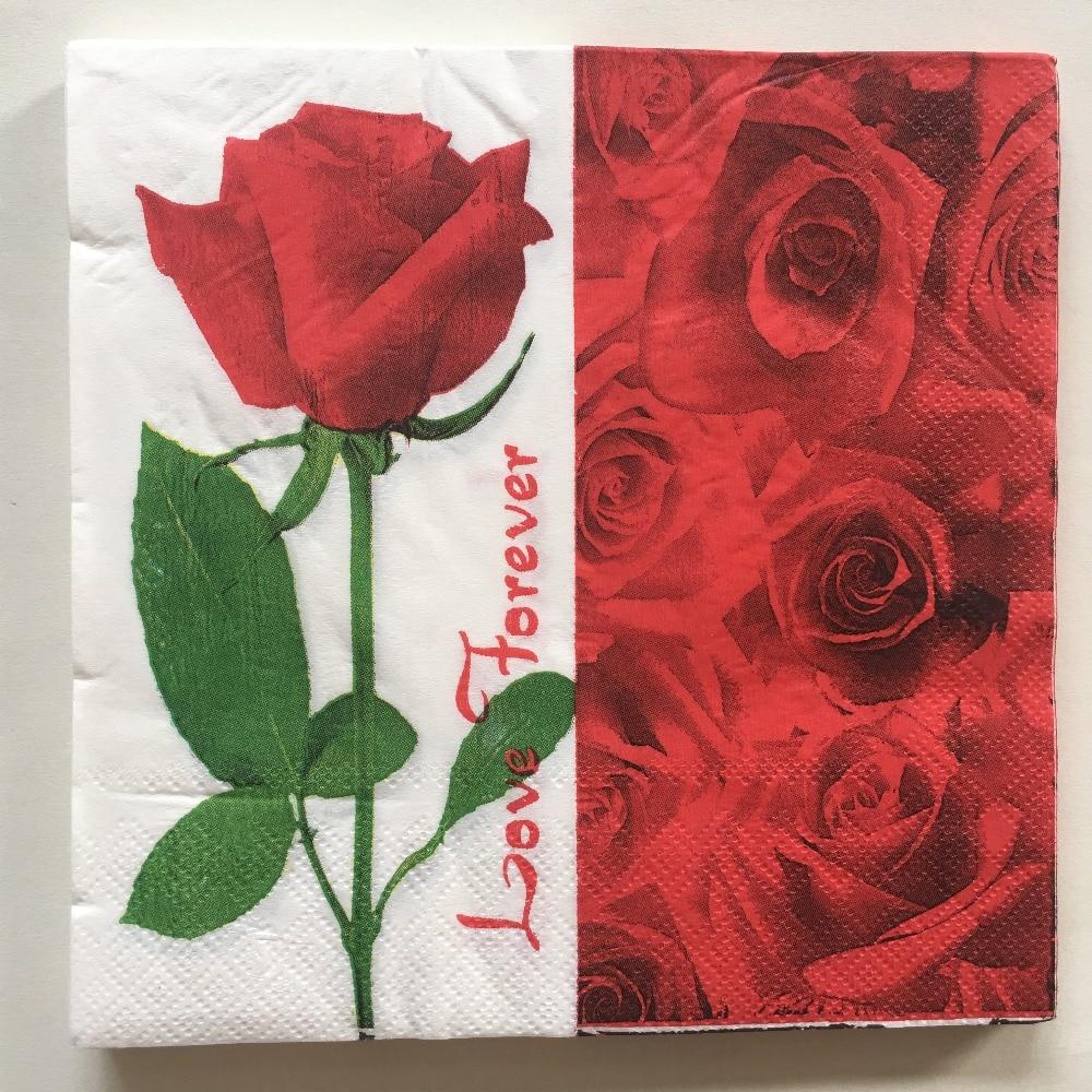 Vintage Decoupage Paper Napkins Red Flower Rose Tissue