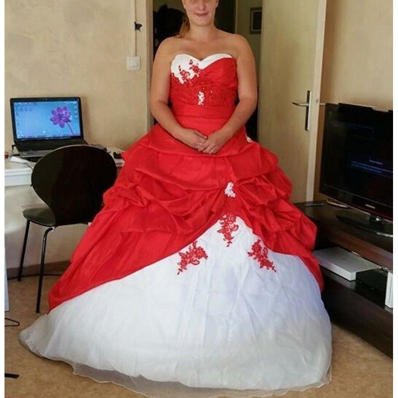 Hot Selling!Applique White and Red Wedding Dress Plus Size A Line ...