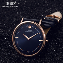IBSO 7.5MM Ultra-thin Mens Watches Top Brand Luxury Blue Genuine Leather Strap Quartz Watch Men 2019 Fashion Relogio Masculino