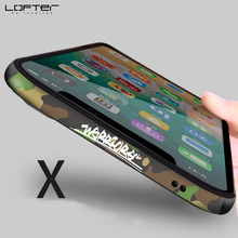 Camouflage Aluminum Bumper for Apple fo iPhone X Phone Cases Metal Frame Cover with Silicone Shockproof Cartoon Armor Coque