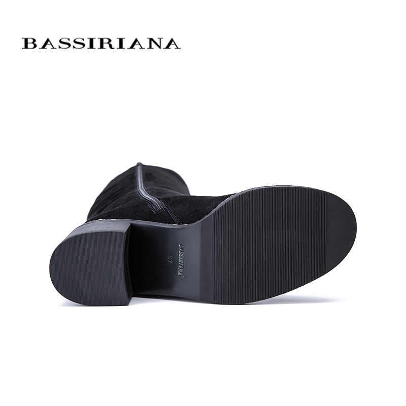 BASSIRIANA Mới 2017 Winter cao Khởi Động giày nữ cao gót vòng dây kéo chân chính hãng da và da lộn đen 35-40 kích thước
