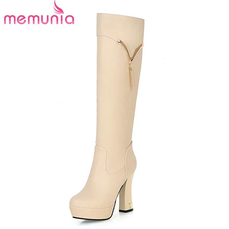 ФОТО MEMUNIA 2017 knee high boots new arrive comfortable square heels and pu soft leather slip on with platform elegant female boots