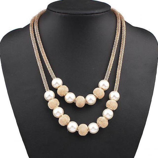 Collana di perle collier femme collares collana A Più Strati choker delle donne dei monili dichiarazione Simulato collane di Perle e pendenti