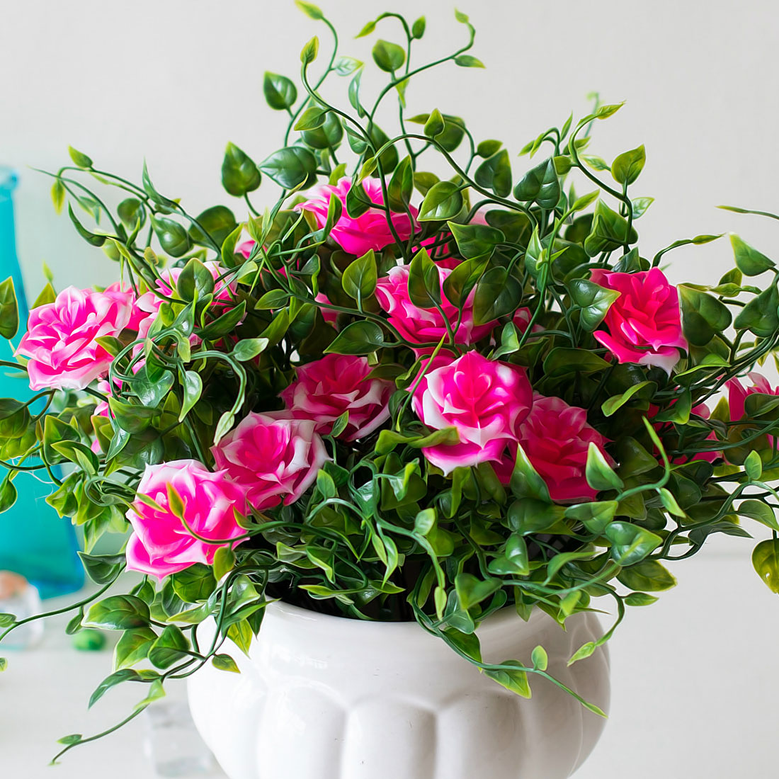 gift box 1 branch artificial plants grass fake rose floral plastic