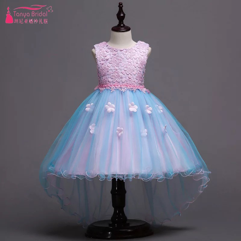 Lace   Flower     Girl     Dresses   For Weddings Colorful Pageant   Dresses   For   Girls   Formal Kids Party Ball Gown With Detachable Bow DQG431