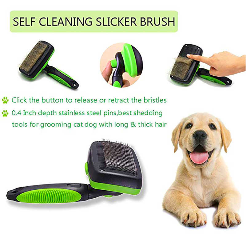 Self Clean Dog Brush Puppy Hair Fur Grooming Shedding Comb Tool For Long Short Hair Dogs And Cats Easy Pet Hair Cleaner Dog Combs Aliexpress