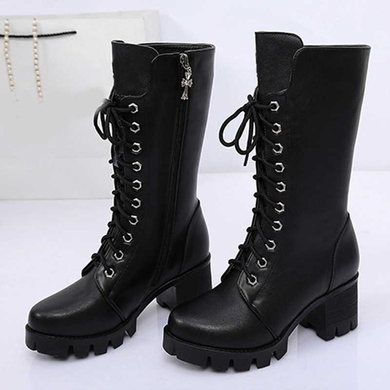 Sonbahar Ayakkabı Kadın Orta Buzağı Çizmeler Kış Rahat Platformu Blok Yüksek Topuklu Çizmeler Kadın Dantel Up Fermuarlı Bayan Eğlence Ayakkabı